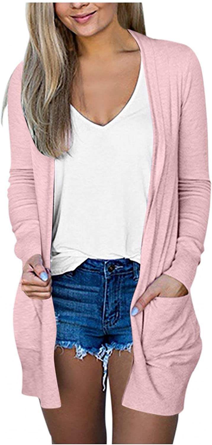 Women's Multicolor Long Sleeves Cardiga Fashion 2021 Open Front Knit Sweaters Fashion Autumn Coat Outwear Blouses