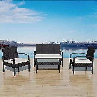 Benkeg Set Muebles De Jardín 4 Piezas Y Cojines Ratán Sintético Negro Juego De Comedor De Exterior Conjunto De Muebles De Jardín Ratán Conjunto De Comedor De Ratán