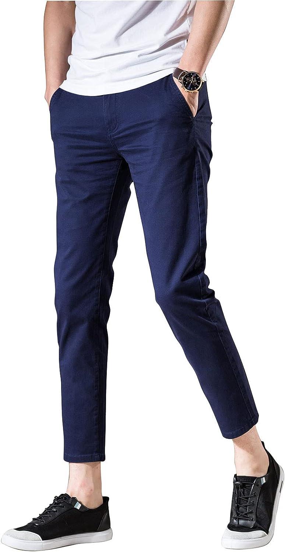 AONGSNNY Men's Cropped Max 43% OFF Chino Pants Las Vegas Mall Khaki Chinos Fit Skinny