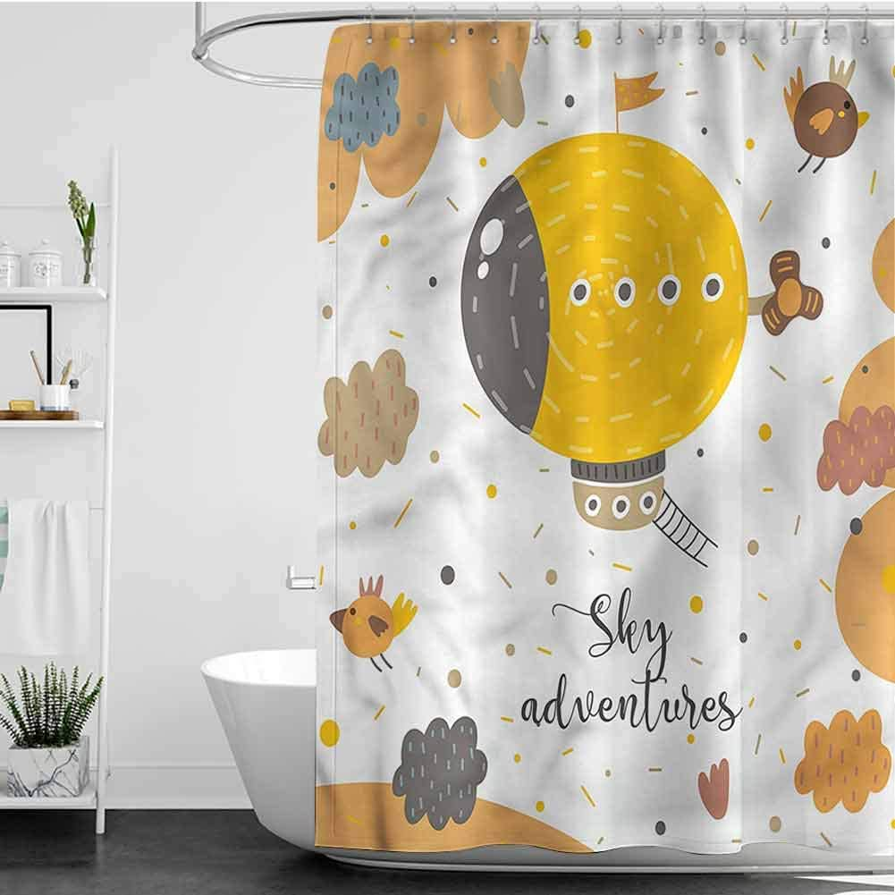 SKDSArts Max 51% OFF Shower discount Curtains Teal and Brown Kids Baby Theme W