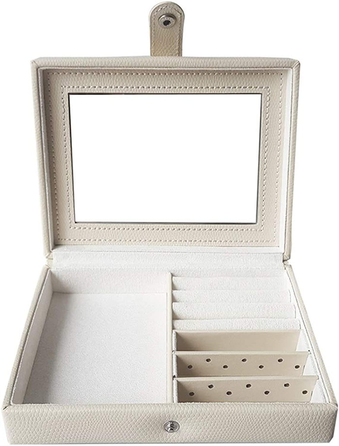 Hang-Dressers Jewelry Box Organiser Small Travel Jewellery Case Portable Faux Leather Jewellery Organiser Box Storage with Mirror for Women (color   White)
