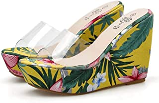 Womens Transparent Wedge Sandals,Ladies Fish Mouth Non-Slip Platform Increase Sandals,Summer PeepToe Heels for Patry Wedding