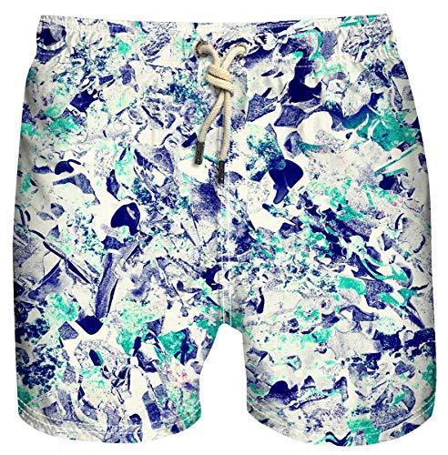 Azul Siete Traje de baño para hombre con estampado de secado rápido con forro de malla, Suertudo, Medium