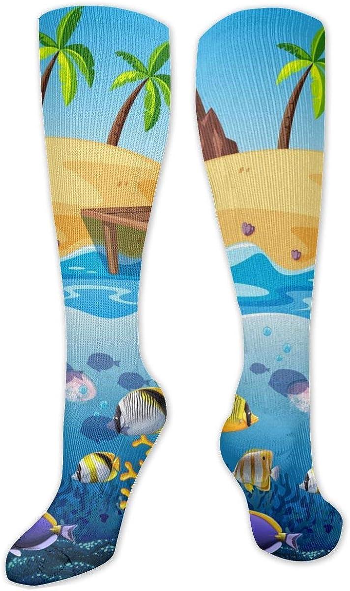 Marine Fish Knee High Socks Leg Warmer Dresses Long Boot Stockings For Womens Cosplay Daily Wear