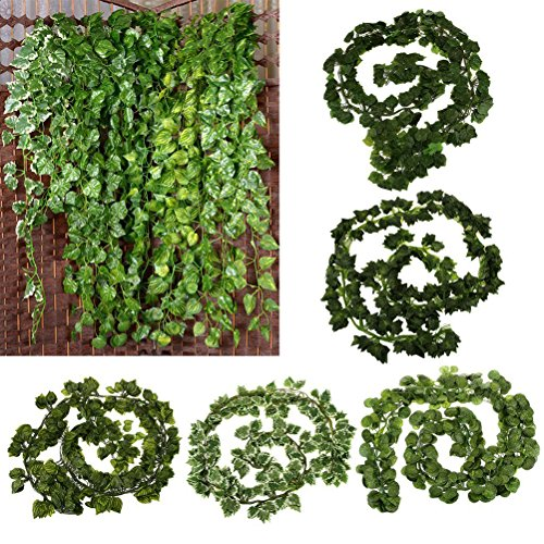 WINOMO 12pcs 6.5ft Artificial Wall Hanging Ivy Vine Foliage Leaf Garland Plants Decor Flowers Home Decor - Grape Leaf