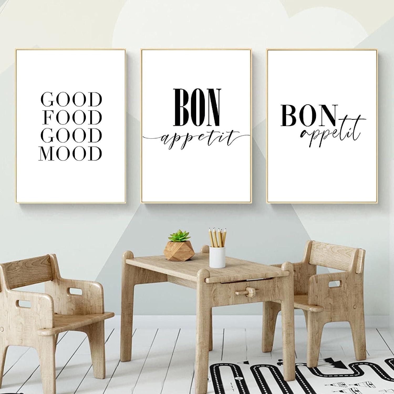 Minimalist Good Food Credence Mood Bon Paintin Canvas Quotes price Appetit