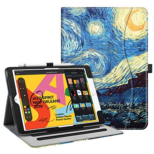 Fintie Case for New iPad 7th Generation 10.2 Inch 2019 - [Corner Protection] Multi-Angle Viewing Folio Smart Stand Back Cover with Pocket, Pencil Holder, Auto Wake/Sleep for iPad 10.2', Starry Night
