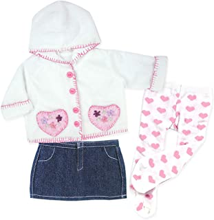 15 Inch Baby Doll Outfit, Pink Heart Print Tights, Denim Skirt and Casual Hooded Coat Fits 15 Inch and 18 Inch American Girl Dolls, 3 Piece Set of Doll Tights, Coat & Denim Skirt