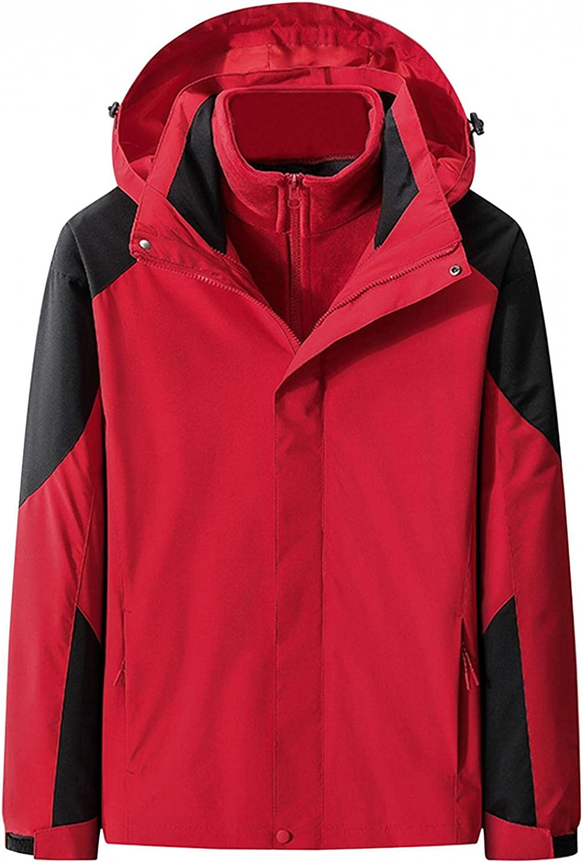 Huangse Waterproof Ski Jacket for Men 3 in 1 Winter Jacket Windbreaker Snow Coat Parka for Hiking Snowboard Both Sided Jacket