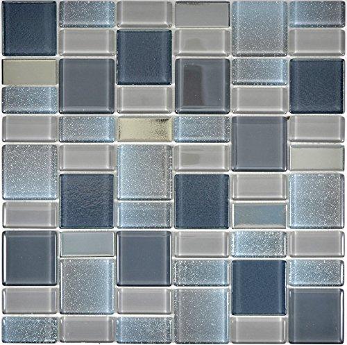 Mozaïektegel grijze combinatie glinsterend grijs voor muur badkamer douche keuken tegelspiegel tegelverkleeding badkuip mozaïekmat | 10 mozaïekmatten