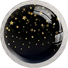 Nachtelijke hemel met gouden ster | 4-Pack ABS hars keukenkast knoppen trekt rond afdrukken dressoir knoppen lade handgrep...