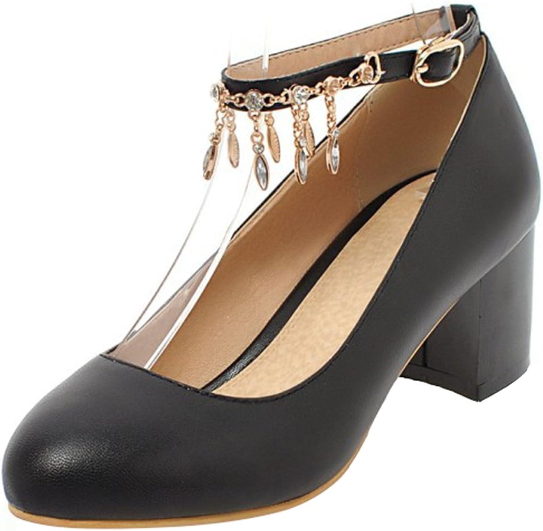 Mofri Women's Ankle Strap Pumps- Sweet Rhinestone Low Cut Round Toe - Buckle Block Medium Heel shoes