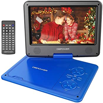 """DBPOWER 11.5"""" Portable DVD Player, 5-Hour Built-in Rechargeable Battery, with 9"""" Swivel Screen, Support CD/DVD/SD Card/USB, with Remote control, 1.8M Car Charger and Power Adaptor (Blue)"""