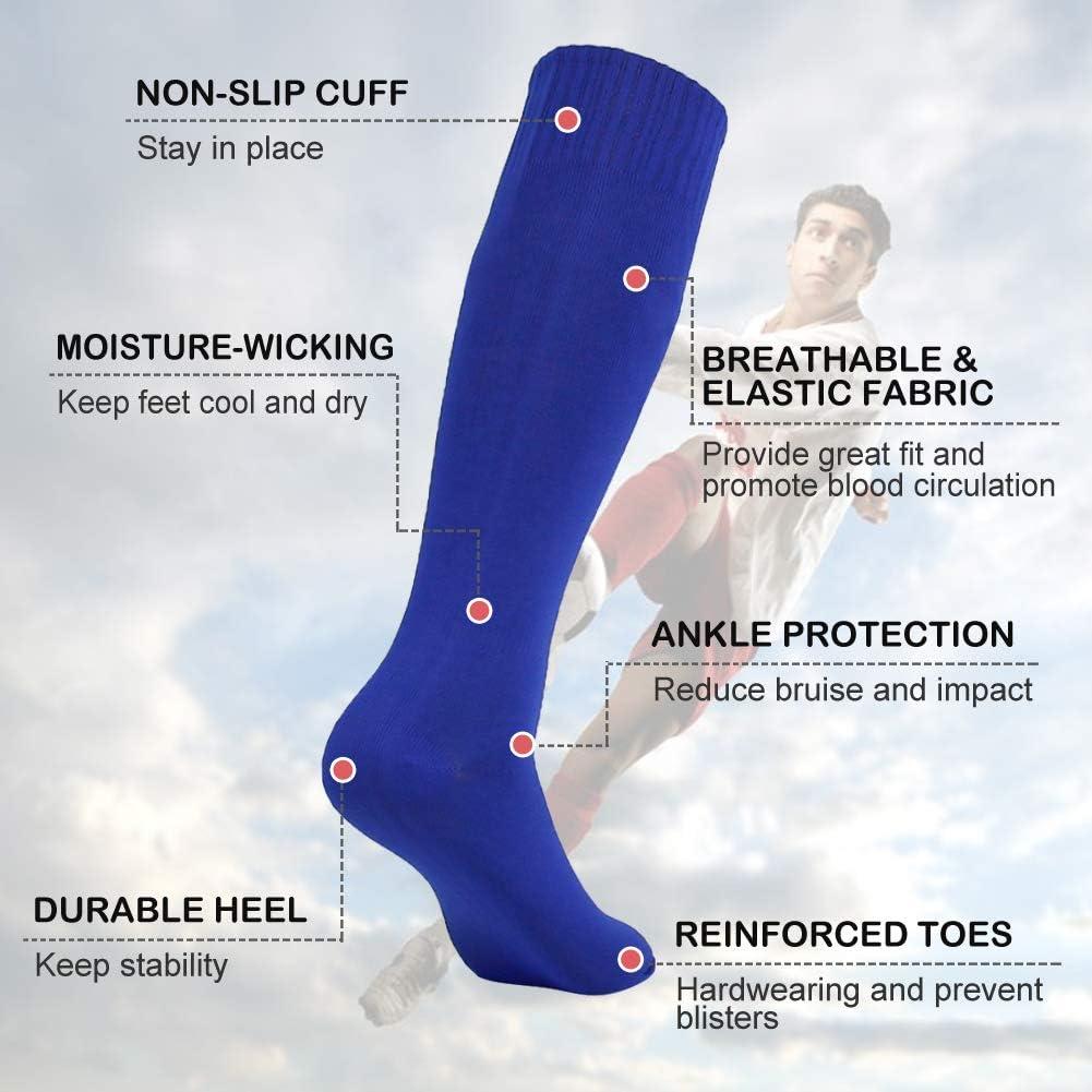Vive Bears Unisex Soccer Socks Knee High Solid Color Sports Football Long Tube Socks 10 Pack