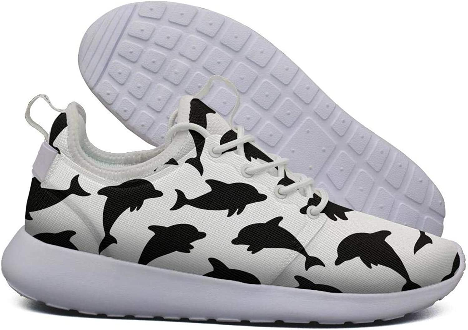 Hoohle Sports Womens Black Silhouette Dolphins Flex Mesh Roshe 2 Lightweight Casual Road Running shoes