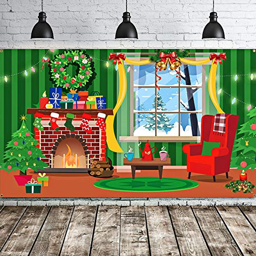Merry Christmas Backdrop Scene Setters Banner Welcome Winter Snow Decorative Xmas Background for Wall Decoration Christmas Party Decor Holiday Time (Green Red Mantel Window)