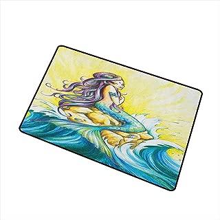 Wang Hai Chuan Mermaid Front Door mat Carpet Magical Mermaid Sitting on Rock Sunny Day Colored Pencil Drawing Effect Machine Washable Door mat W31.5 x L47.2 Inch Yellow Blue Purple