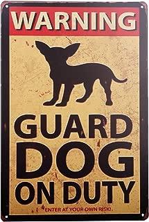 HANTAJANSS Warning Guard Dog On Duty Metal Sign, Retro Safety Tin Signs for Yard, Farm, Fence, Home.