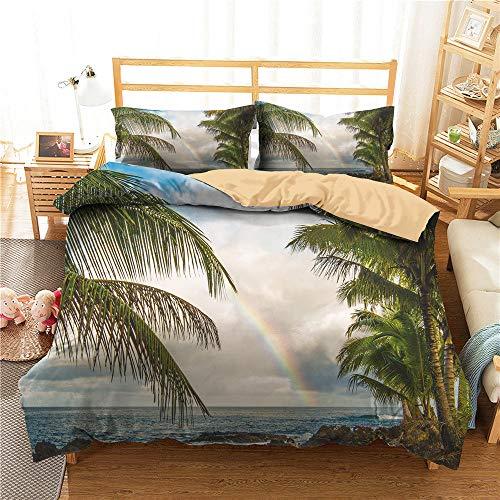 3D Beach Landscape Sea Copripiumino 260x220 Biancheria da Letto Sand Palm Trees Estate Arcobaleno Set Piumone Queen King Twin Full Size Microfibra per Kid Girl Adulto,Super King(260*220)