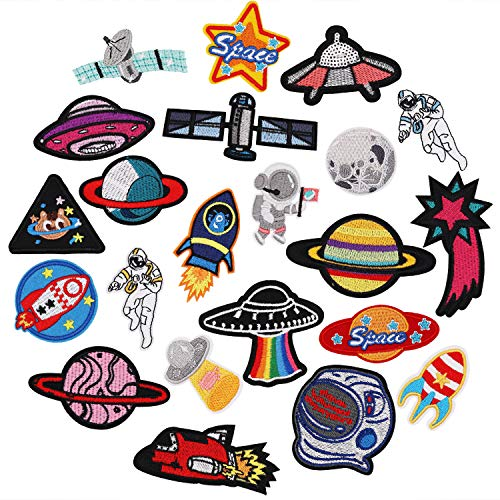 22pcs Space Planet Astronaut Iron on Patches Embroidered Motif Applique Decoration Sew On Patches Custom Patches for DIY Jeans, Jacket,Kid