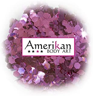 """Amerikan Body Art Biodegradable Glitter - Pink Sapphire (.094"""" Hex), Cosmetic Glitter for face, body and hair - 1 oz bag"""