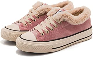 d4325c929718 JUSTFASHIONNOW Womens Girl Canvas Sneaker Lace-Up Suede Shoes Sneaker Plush  Candy Fashion Walking Shoes