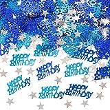 APERIL Coriandoli Blu Buon Compleanno coriandoli Stella d'Argento coriandoli Paillettes, C...