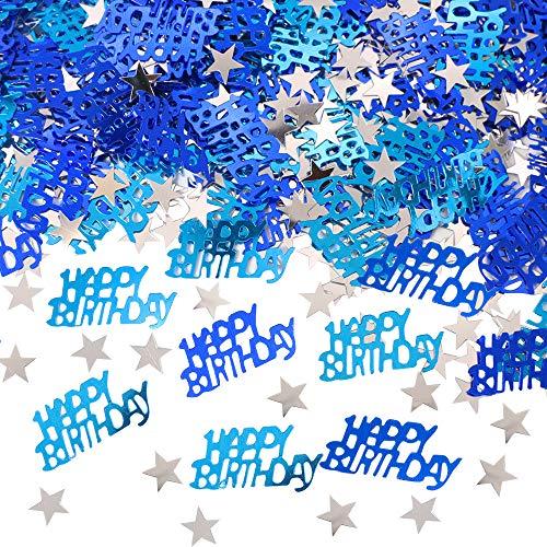 APERIL confeti azul Feliz cumpleaños confeti,plata estrella confeti lentejuela, 30g de confeti de mesa, Happy Birthday confeti para decoración de fiesta de cumpleaños de niños niñas