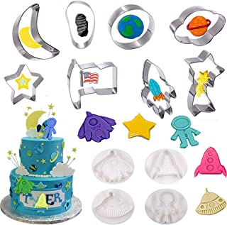 Dxary Space Cookie Cutters, 12 Pieces Outer Space Cake Mold Include Rocket Mold Astronaut, Flag, Footprint, Spaceship, Meteor, Crescent Moon and Star Space ShapeCookie Cutter for Kids Party (Space)