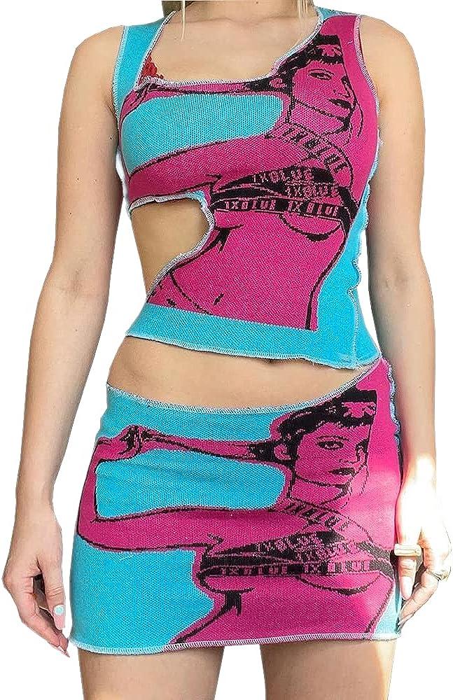 Women Funky Graphic Mini Dress Y2k Casual Tie Dye Bodycon Tank Dress Face Printed A-line Cami Dress