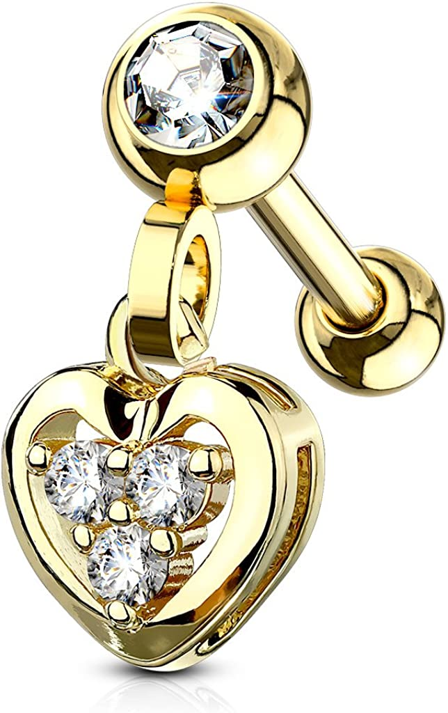 MoBody 16G Clear CZ Jeweled Dangle Heart Tragus Earring Surgical Steel Cartilage Helix Piercing Stud