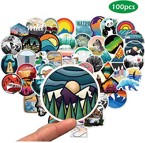Wilderness Nature Stickers 100-Pack,Gdaya Waterproof Vinyl Stickers Decals for Water Bottle Motorcycle Bicycle Skateboard Luggage Laptop,Computer,Phone,Travel,Extra Durable Back To School