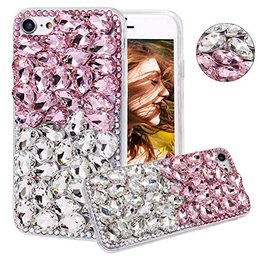 Coque en Diamant pour Huawei Mate 30, YiCTe 3D Handmade Sparkle Clair Bling Cristal Strass TPU Silicone Skin Cover pour femmes filles,Blanc & Rose