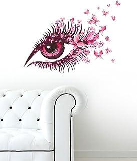 Decals Design 'Modern Art Stunning Eye with Pink Blowing Butterflies' Wall Sticker (PVC Vinyl, 50 cm x 70 cm x 1 cm), Mult...