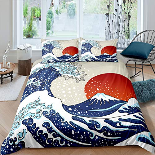 Feelyou Ocean Wave Bedding Set Sea Wave Surfing Duvet Cover for Kids Children Teens Japanese Ukiyoe Comforter Cover Hokusai Pattern Bedspread Cover Bedroom Decor Queen Size
