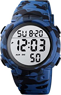 Men's Digital Sports Watch LED Screen Large Face Military Watches and Waterproof Casual Stopwatch Alarm Simple Wrist Watch for Mens
