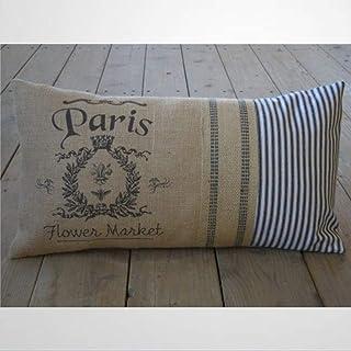 EricauBird Paris - Funda de almohada lumbar con lazo de yute y garrapatas para casa de campo, estilo shabby chic, funda de cojín de 30,4 x 50,8 cm