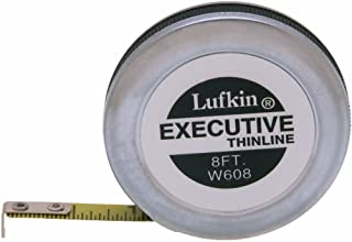 """Crescent Lufkin 1/4"""" x 8' Executive Thinline Yellow Clad Pocket Tape Measure - W608"""