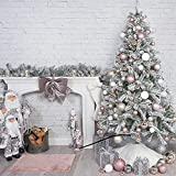 ASDF Árbol de Navidad artificial con adornos y luces, árbol de Navidad cubierto de nieve de lujo blanco invierno precama PVC pino decoración de vacaciones - blanco 120 cm