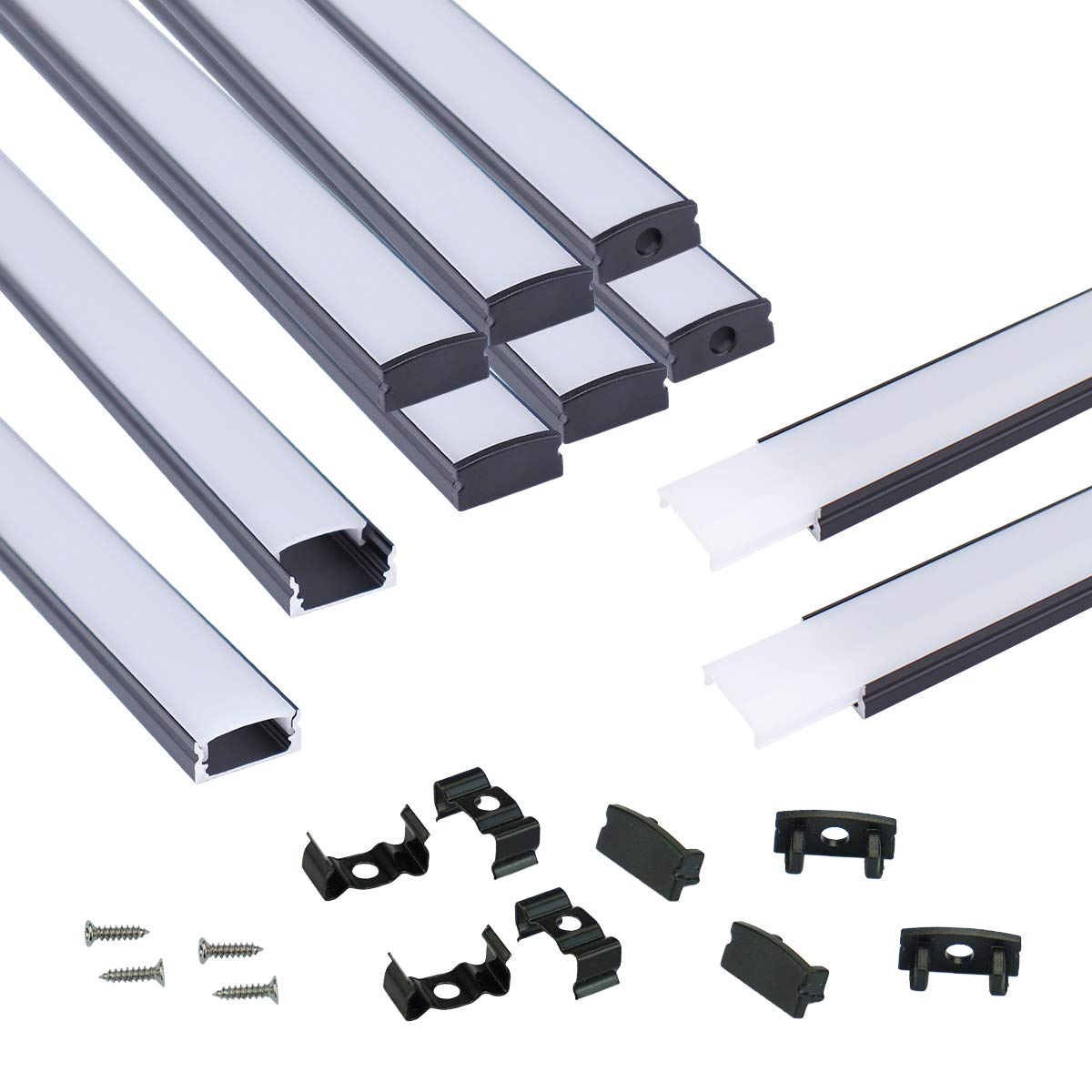 Muzata 10Pack 6.6ft 2M U-Shape LED High material System Channel with Milky Wh Very popular!