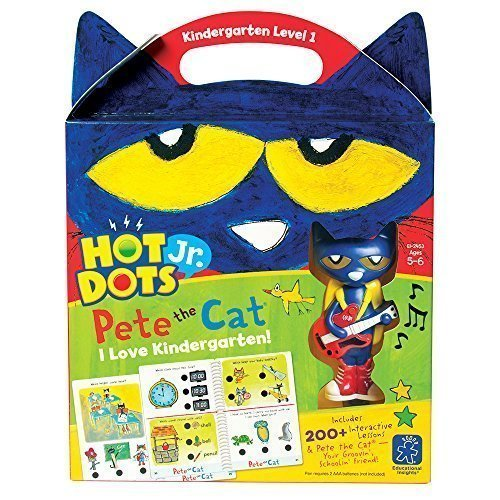 Educational Insights Hot Dots Jr. Pete The Cat - I Love Kindergarten Set with Interactive Pen Included, 200+ Multi-Subject Activities, Homeschool & Kindergarten Readiness Learning Workbooks, Ages 5+