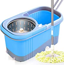 JUAN Hand-Free Wringing Floor Cleaning Mop ,The 360-rotating Mop Made Mop Head Fiber Length Without Lint,4 Extra Microfibe...