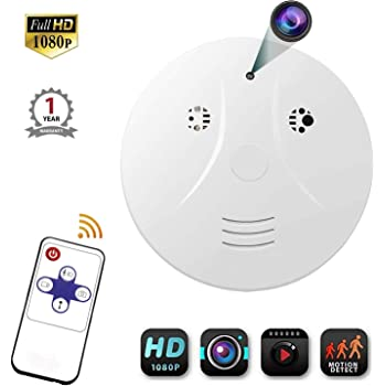 Night Vision Hidden Spy Camera QUANDU WiFi Smoke Detector Hidden Camera DVR Mini Nanny Cam with Motion Detection for Home Security Surveillance Apps for iOS//Android//PC//Mac