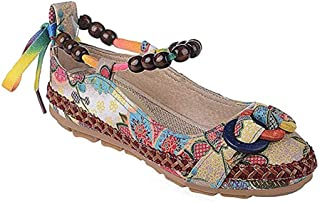 BININBOX Women's Beading Round Toe Embroidered Shoes Lace Up Colorful Casual Flats Shoes