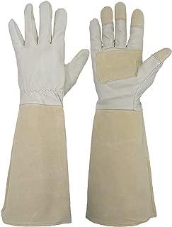 HANDLANDY Rose Pruning Gloves for Men & Women, Long Thorn Proof Gardening Gloves, Breathable Pigskin Leather Gauntlet, Best Garden Gifts & Tools for Gardener