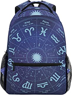 Women/Man Canvas Backpack Special Astrology Symbols Zipper College School Bookbag Daypack Travel Rucksack Gym Bag For Youth