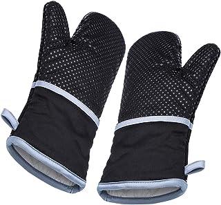 RSVLEISI Guantes de horno resistentes al calor, guantes de silicona con acolchado de algodón para horno, cocina, guantes largos
