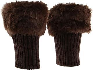 freneci, Botas de Punto de Piel Sintética Borrosas Zapatos Cuff Toppers Calentador de Piernas Calcetín de Bota de Invierno