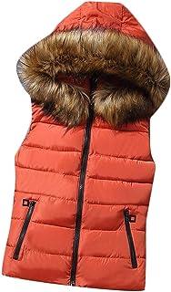 omniscient Women's Outwear Sleeveless Faux Fur Collar Outwear Zip Up Down Coat Vest