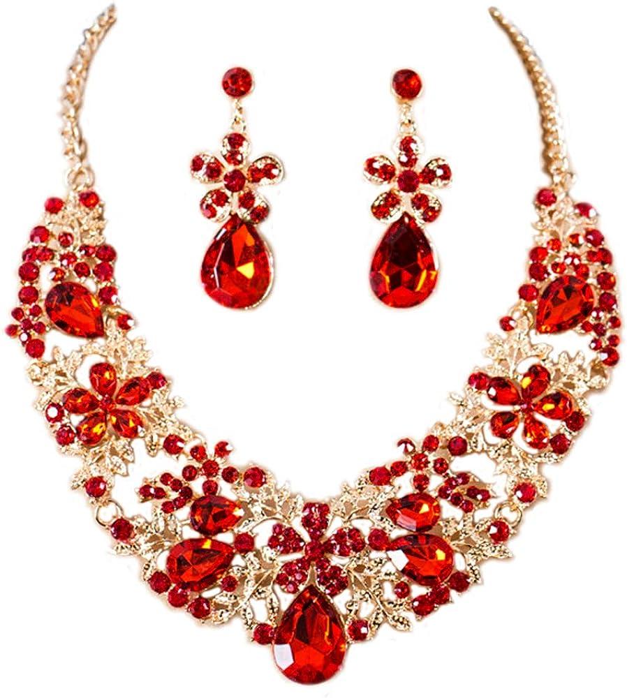Gold Tone Flower Rhinestone Bridal Wedding Jewelry Set Bib Collar Necklace and Dangle Earrings